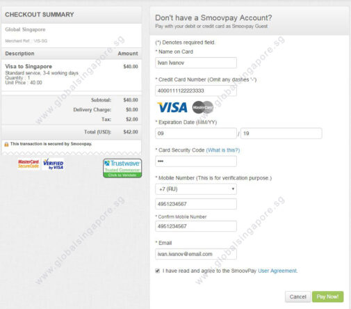 Smoovpay payment page example